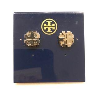 Tory Burch large T logo earrings – silver
